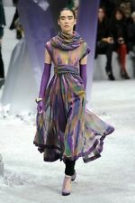 CHANEL 12A 2012 Long Maxi Multicolor Silk Chiffon Dress with Scarf 38 FR $8165