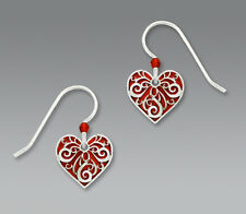Sienna Sky Red HEART Silver Filigree Overlay EARRINGS Sterling Dangle - Boxed