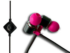 BLACK PINK IN EAR HEADPHONES EARPHONES WITH MIC /CONTROLS FOR IPHONE SAMSUNG HTC