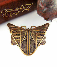 ANTIQUE BRASS Egyptian / Art Deco BUTTERFLY SCARAB Stampings (C-407) `