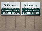 """2 CLEAN UP AFTER YOUR DOG 8""""X12"""" Plastic Coroplast Signs with Stake NEW"""
