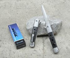 "8.75"" Duck Stiletto Blade Black Wood Italian Style Spring Assisted Pocket Knife"