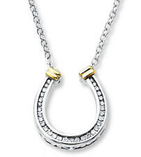 Charming 925 Sterling Silver CZ Horseshoe Pendant Necklace - FREE Shipping