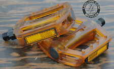 "Brown Clear Iped Platform Bike Pedals 9/16"" BMX MTB Cruiser Fixie Track Bicycle"