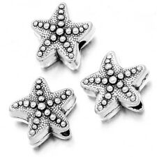 50pcs Tibetan Silver Starfish Shape Charms Metal Alloy Spacer Beads Findings J