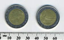 Italy 1985 - 500 Lire Bi-Metallic Coin - Plaza within circle flanked by sprigs