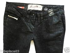 River Island Ladies Jeans Size 10 R skinny Snake print black leather look 30/31