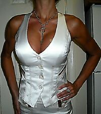 BEBE Luxe White GLAMOUR SATIN Ribbon Trim X-Back Corset Bustier Halter Vest XS