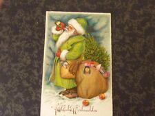 Ak  Weihnachten Nikolaus grüner Mantel trinkt aus Flasche Spielzeug Sack - 1939