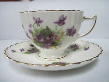 Radfords - Fine Bone China - Cup and Saucer - Made in England - Purple Flowers