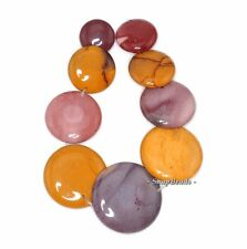 DECADENCE MOOKIATE GEMSTONE YELLOW RED BROWN LOOSE BEADS GRADUATED SET 9 BEADS