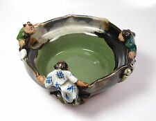 Antique SIGNED Japanese Meiji Period Sumida Gawa Pottery Figural Bowl Pond