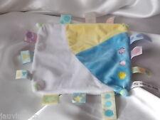 Doudou plat bleu, jaune, blanc, étiquettes, Un rêve de bébé