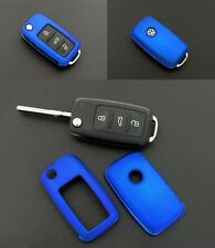 Blue VW SEAT SKODA Remote Flip Key Cover Case Skin Shell Cap Fob Protection-