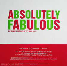 PET SHOP BOYS Display Card POSTER Absolutely Fabulous UK PROMO ONLY