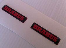 2 Adesivi Resinato Sticker 3D BRABUS Smart  Rosso nero Volante