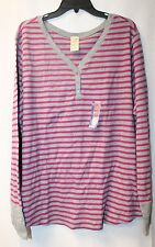 NEW WOMENS PLUS SIZE 4X 26W 28W PINK & GRAY STRIPED THERMAL HENLEY SHIRT TOP