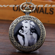 Hot Sale Marilyn Monroe Lady Men's Antique Pocket Watch Necklace Chain Gift