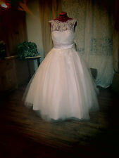 Vintage 50s Inspired Plus NWT Organza Shiny Satin Tea Chapel Wedding Dress 12