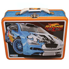 HOT WHEELS RACING CARS Metal Tin Lunch Box Treasure Storage Bag ORANGE BLUE NEW