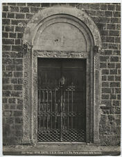 VINTAGE PHOTO, METAL GATE IN FRONT OF CHURCH DOORS. ITALY. STRONG IMAGE, B W