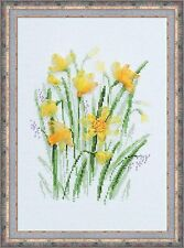 RIOLIS COUNTED CROSS STITCH KIT + RIBBON - SPRING NARCISSUS - R1180 - 21*30 cm