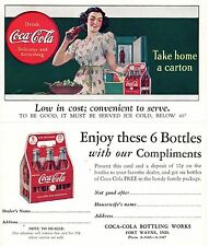 "COCA-COLA""DRINK Coca-Cola"" ""TAKE HOME A CARTON"" COUPON - POSTCARD 1930's"