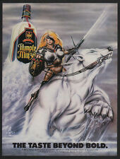 1986 SEXY WARRIOR WOMAN w/ Sword Rides POLAR BEAR - RUMPLE MINZE VINTAGE AD