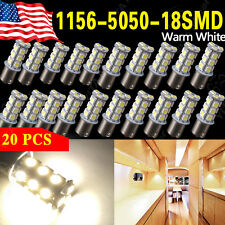 20x Warm White 1156 BA15S 18-SMD RV Camper Trailer Tail Backup LED Light Bulbs