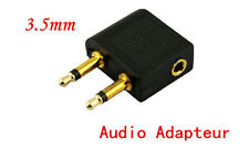 New BU Airplane Airline Dual Headphones 3.5mm Jack Audio Adapter Converter UA