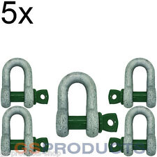 5x 4.75 tonnes Galvanised Steel Green Screw Pin Safety D Shackle Free P+P!