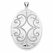 .925 Sterling Silver Polished Large 6 Picture 36mm Oval Scroll Locket