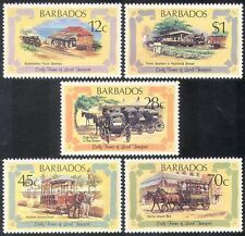 Barbados 1981 Trains/Steam/Railways/Rail/Horses/Tram/Cabs/Transport 5v (n40079)