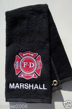 Personalized Embroidered Golf/Bowling Towel Firefighter Fire Department Maltese