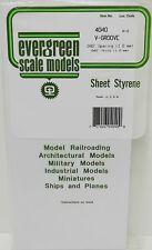 "Evergreen Sheet Styrene 4040 - V-Groove - 040"" Spacing (1.0mm) - 040"" Thick"
