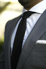 Mens Black Knitted Tie - Skinny Woven Necktie - Boys Wedding Slim Solid Knit