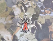 Leukemia or Appendix CANCER AWARENESS ORANGE ANGEL RIBBON PEWTER PENDANT All New