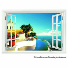 Beach Resort 3D Window View Removable Wall Sticker Art Home Decal Decor Mural V