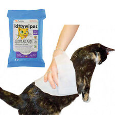 """Petkin Kitty Wipes -15 Jumbo 7.5""""x10"""" Wipes in Resealable Pack Cat & Kitten Safe"""