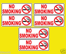 "6PCS NO SMOKING SIGN WITH STICKER 2.5"" X 6"" OFFICE STORE WEATHER RESIST PLASTIC"
