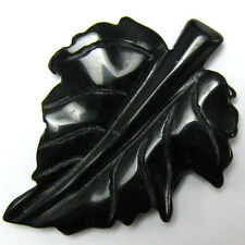 68-76mm black stone carved leaf pendant bead