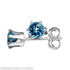 4mm ROUND FACETED GENUINE LONDON BLUE TOPAZ 925 STERLING SILVER STUD EARRINGS
