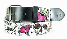 Men's Fashion Studded Belt (New XL) Flowers, Hearts, God, Genuine Italian Design