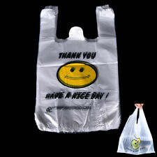 100x Carry Out Retail Supermarket Grocery White Plastic Shopping Bag 20x32cm tb