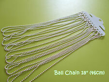 Silver Plated Lobster Clasp Ball Chains Necklaces - 18 inches - 12pcs
