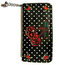 Banned Cherry Sugar Skull Bomb Polka Dot Rockabilly Faux Leather Wallet Purse