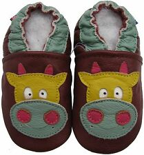 carozoo cow brown 3-4y C1 soft sole leather baby shoes slippers