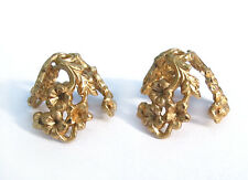 6 Large raw solid Brass flower Bead Caps Art Nouveau Styled rhinestone setting