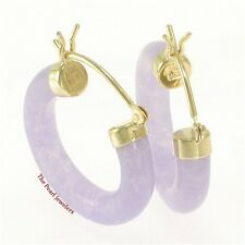 14k Solid Yellow Gold Hook Earrings Made of Lavender Jade 4 x 20 mm Tube Ring