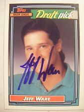 JEFF WARE signed BLUE JAY 1992 Topps baseball card AUTO OLD DOMINION Autographed